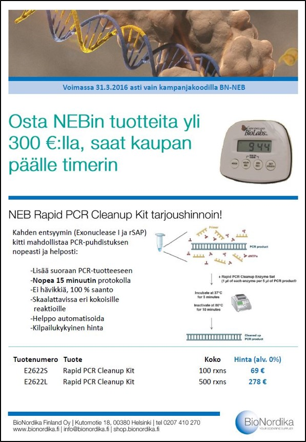 Kuva NEB timer Rapid PCR Cleanup