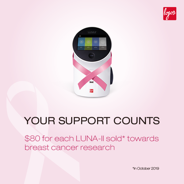 Your Support Counts Logos Biosystems LUNA II automated cell counter for breast cancer awareness month 600 x 600